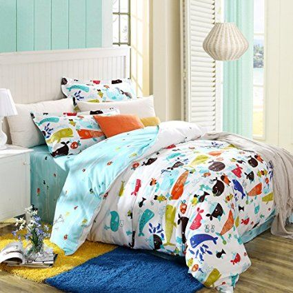 Amazon Com Memorecool Home Textile Cartoon Boys And Girls Bedding Set Variety Of Fish Pattern Duvet Cove Bedding Sets Beds For Kids Girls Kids Full Size Beds
