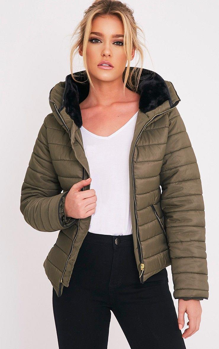 Mara Khaki Puffer Jacket Jackets, Jacket images, Puffer