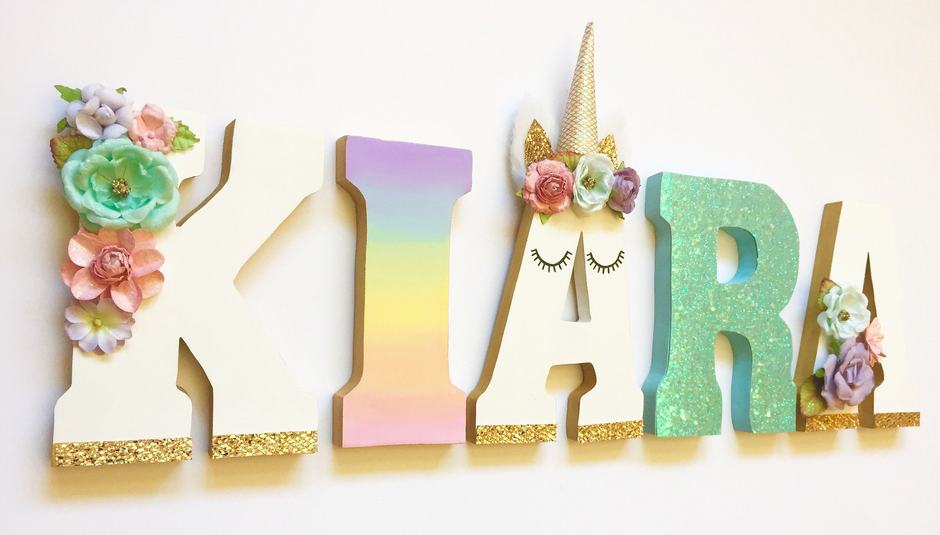 Unicorn Themed Letters - Home Decor - Party Decorations - Wood ...