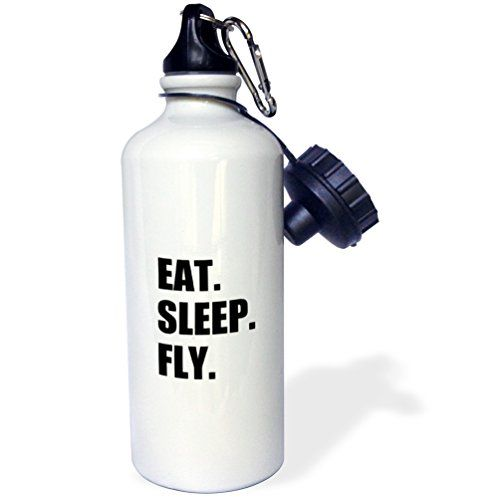 3dRose wb_180404_1 Eat Sleep Fly-Fun Gifts for Pilots Flight Crew and Frequent Flyers Sports Water Bottle, 21 oz, White -- More info could be found at the image url.