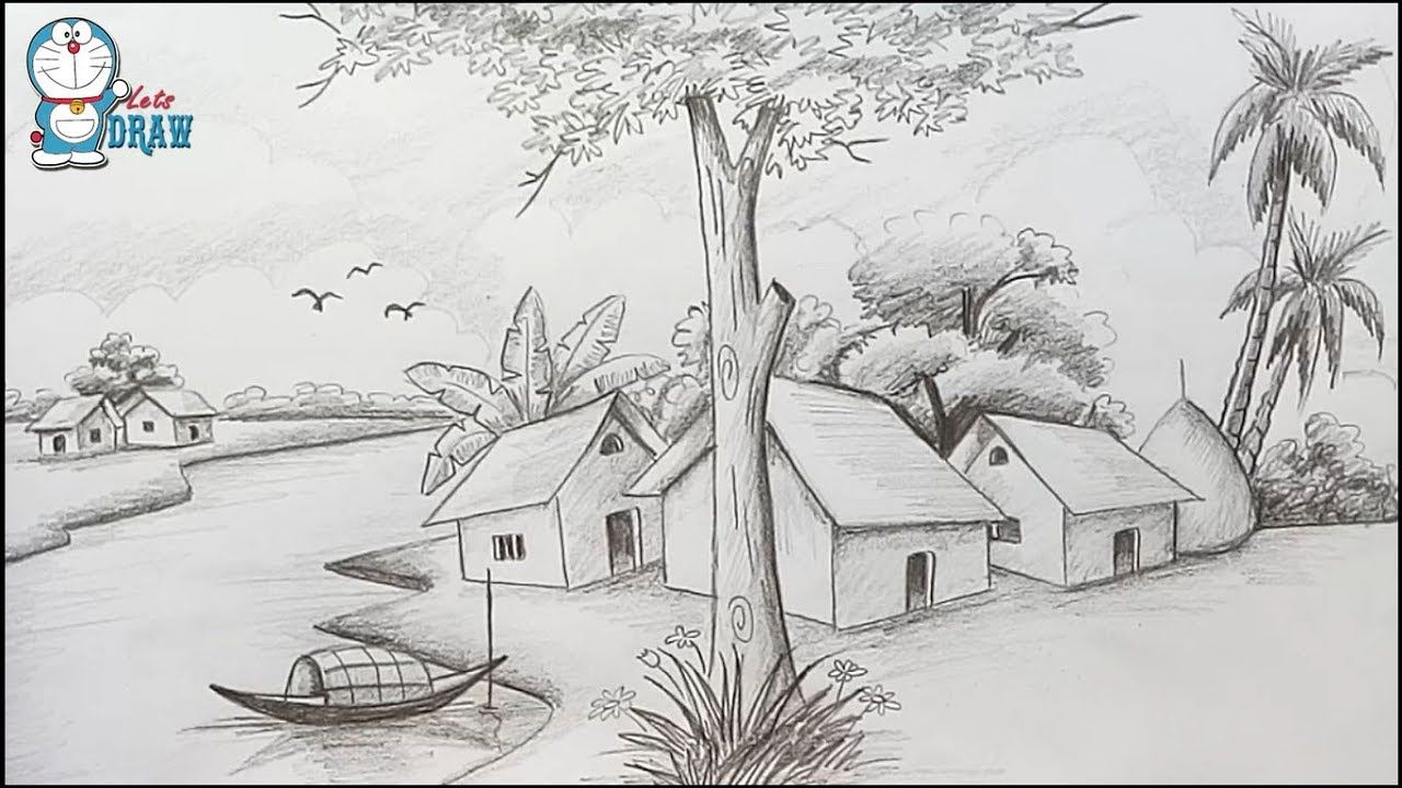 How To Draw Scenery Landscape By Pencil Sketch Step By Step Drawing Scenery Landscape Pencil Drawings Landscape Sketch