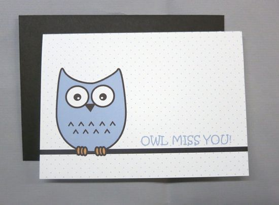 12 Ways To Say Goodbye With Images Owl Miss You Cards Card Set