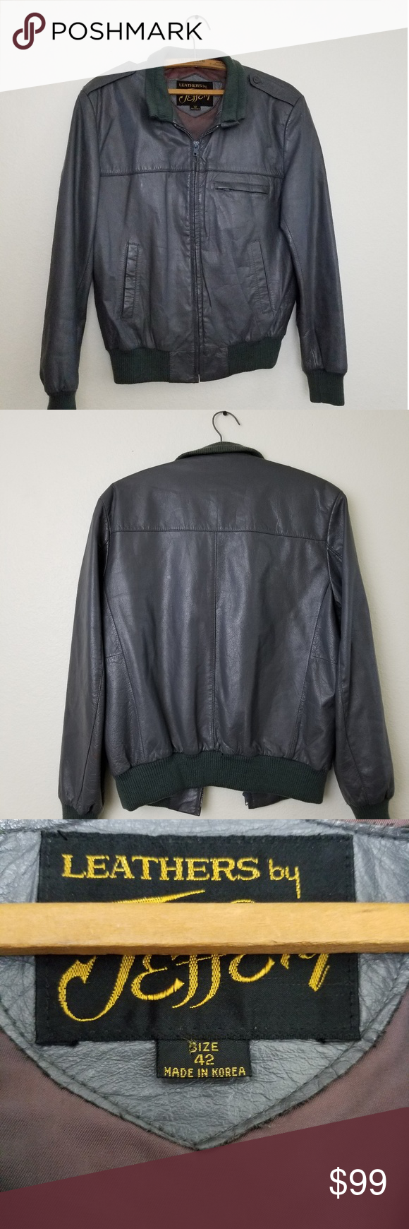 Jeffrey Vintage Gray Leather Bomber Jacket Men 42 Leather Bomber Jacket Leather Bomber Leather Varsity Jackets [ 1740 x 580 Pixel ]
