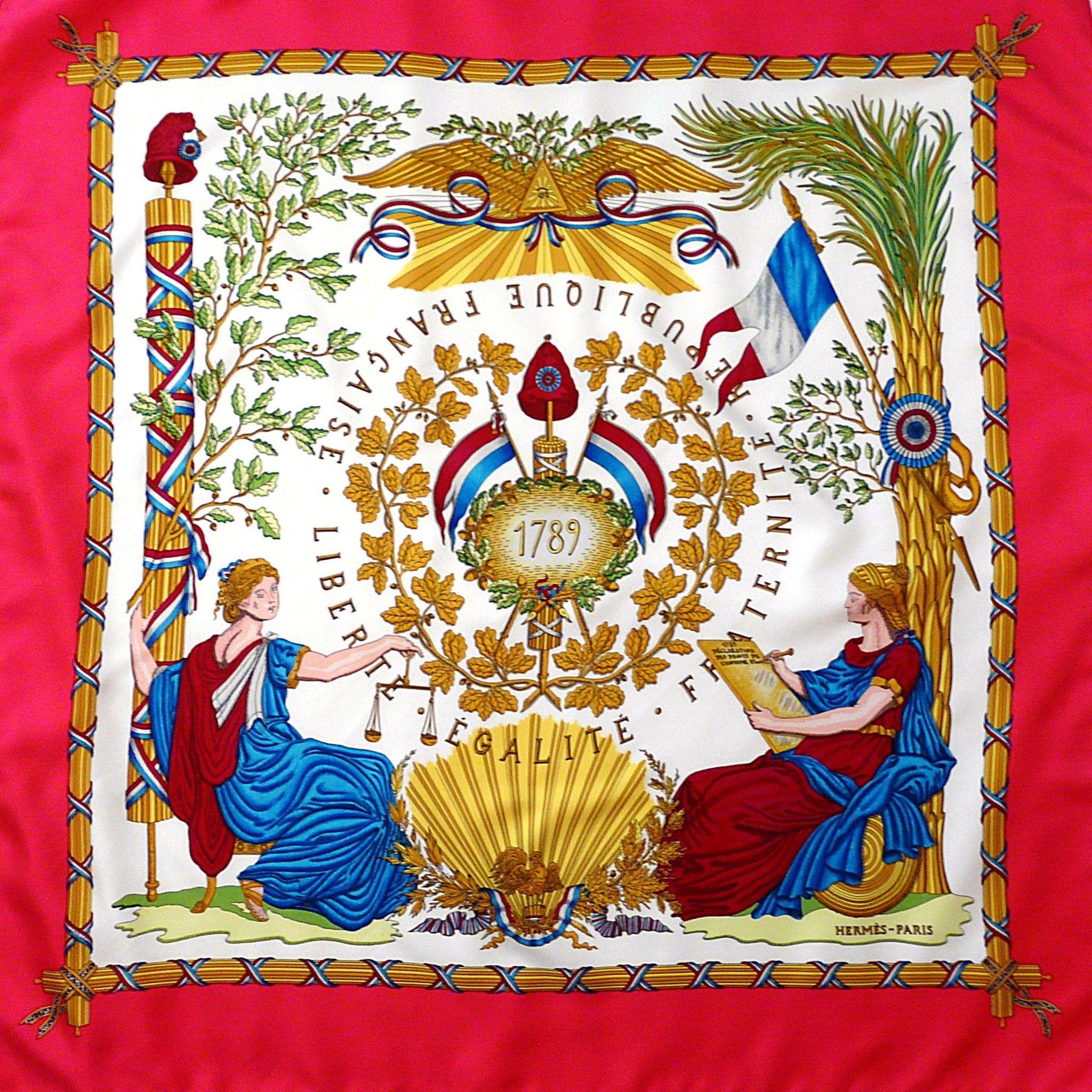 83f5178f6990 A striking vintage Hermès Republique Francaise Liberte Egalite Fraternite -  1789 by Joachim Metz celebrating France becoming a Republic.