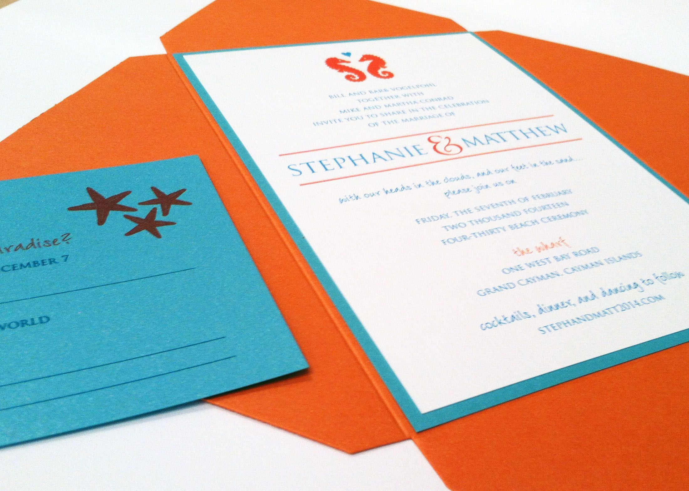 Beach wedding invitation with seahorse and starfish graphics ...