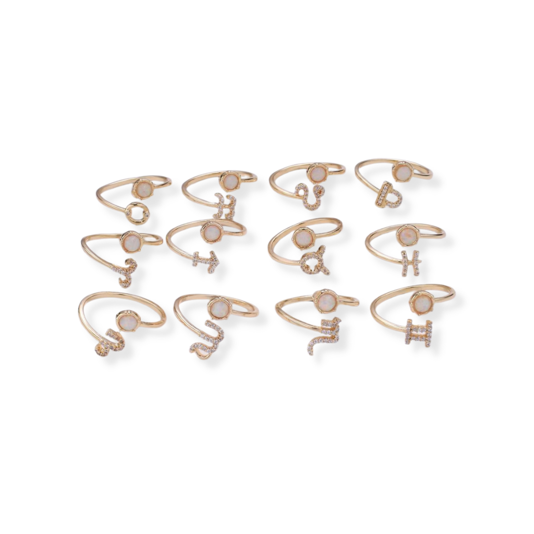 Opal Zodiac Sign Ring - Aries