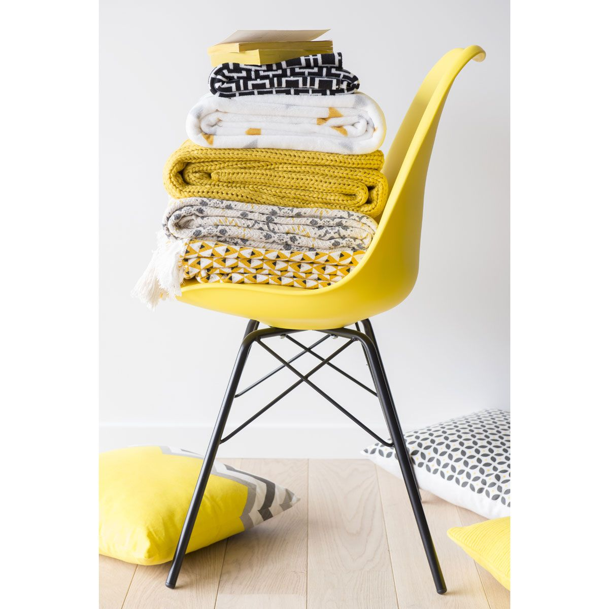 Fodera di cuscino in cotone gialla grigia 40 x 40 cm for Maison du monde yellow summer