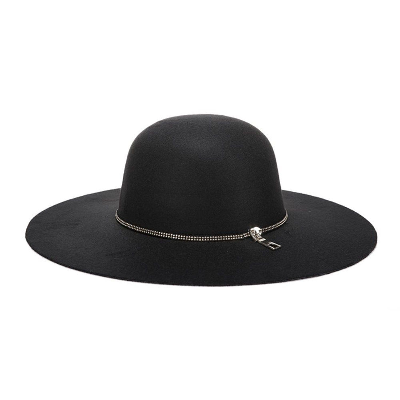 630f5b4b6b1 Women Wool Vintage Wide Brim Hard Felt Fedora Panama Hat  at Amazon Women s  Clothing store