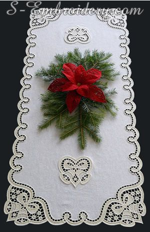 10595 Christmas Table Runner Lace Embroidery Set Machine Embroidery Projects Sewing Machine Embroidery Embroidery Projects