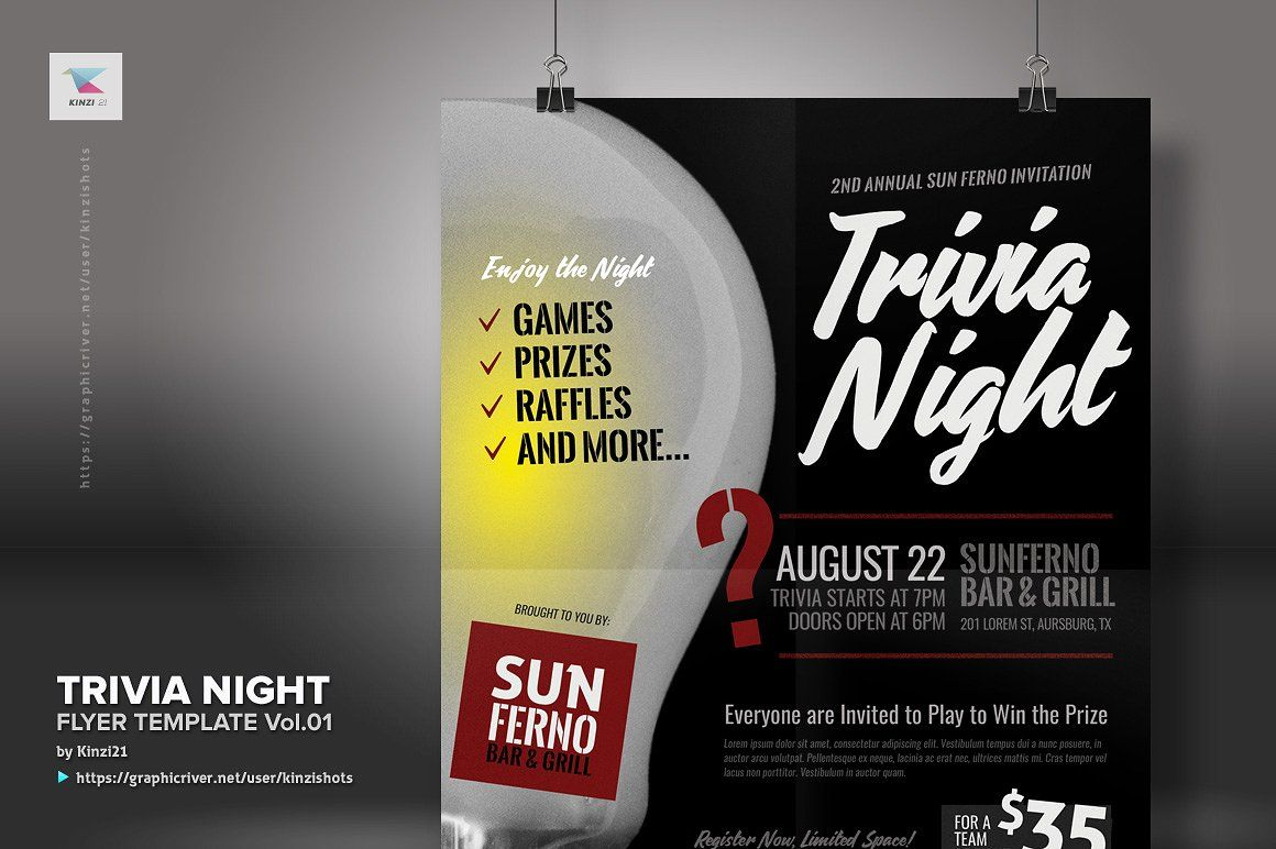 trivia night flyer template vol 01 inches letter features color