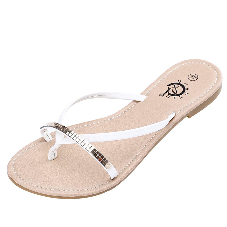 4Chiclife Womens Rhinestones Flip Flops Sandals  Want -6094