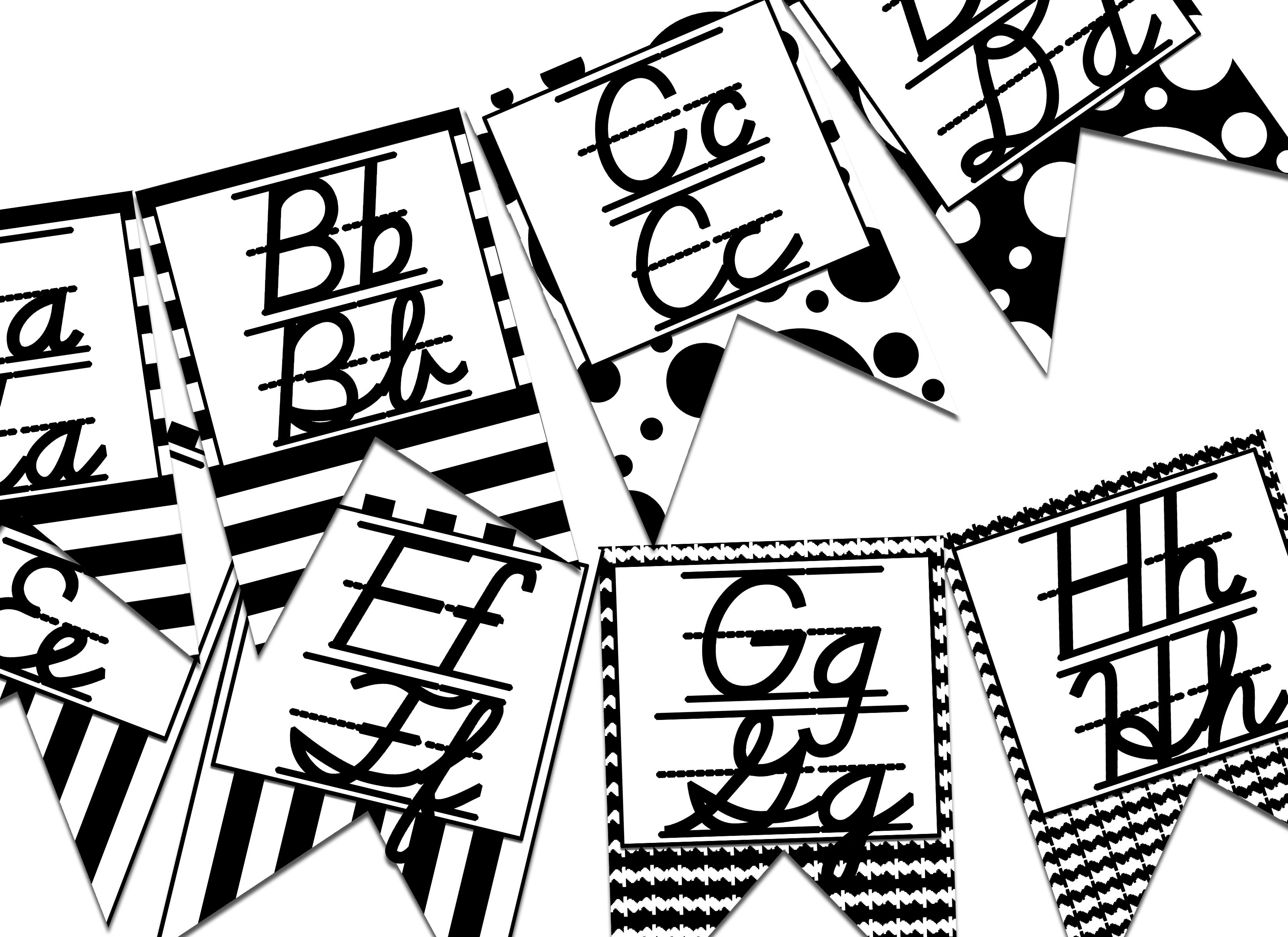 D Nealian Print And Cursive Alphabet Banner Black Amp Bold