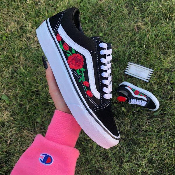 7763ff846f24 Rose Vans Old Skool Vans Women Sneakers Rose Embroidered Vans Custom...  ( 95) ❤ liked on Polyvore featuring shoes