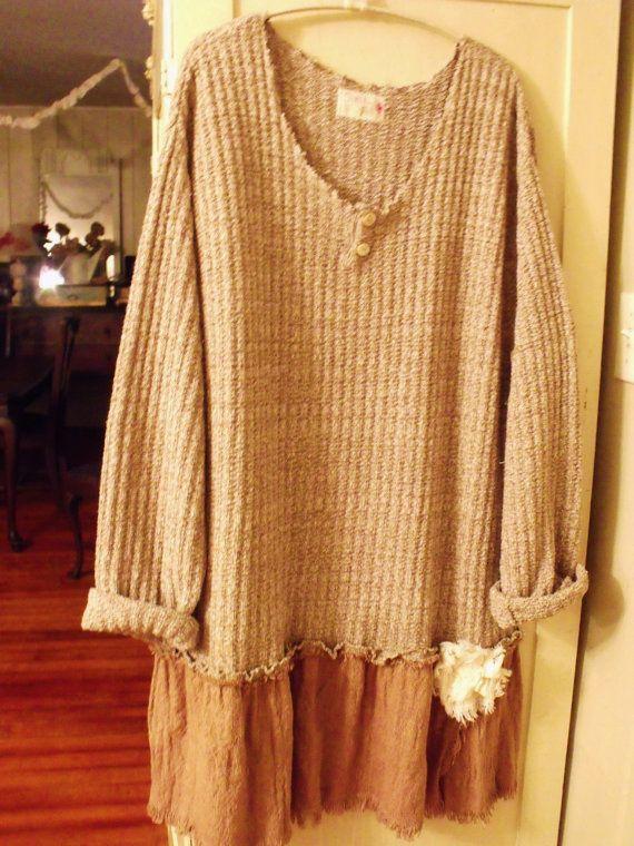 Plus Size/Sweater Dress/Tunic/Tan Cream Sweater/Chocolate Fashion Burlap Skirt/Funky Flower