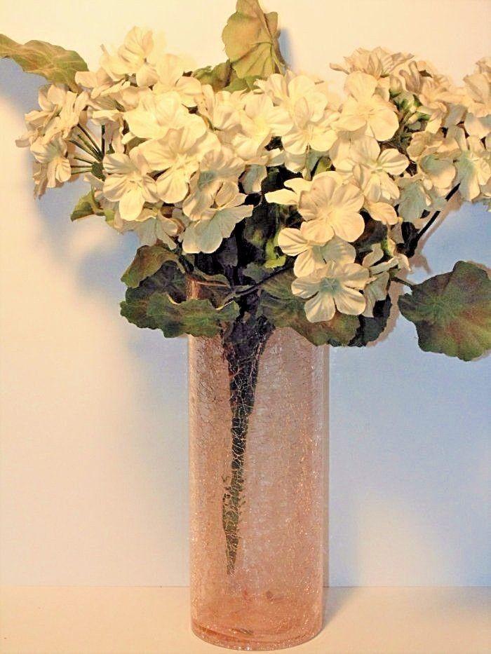 Pink Crackle Glass Cylinder Vase Flower Vase Vintage Glass 9