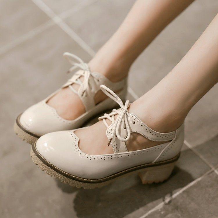 d4aff1f5 Cheap Mujeres atractivas del verano s zapatos de vestir estilo británico  antiguo con cordones del talón grueso punta redonda informal para mujer  oxfords, ...