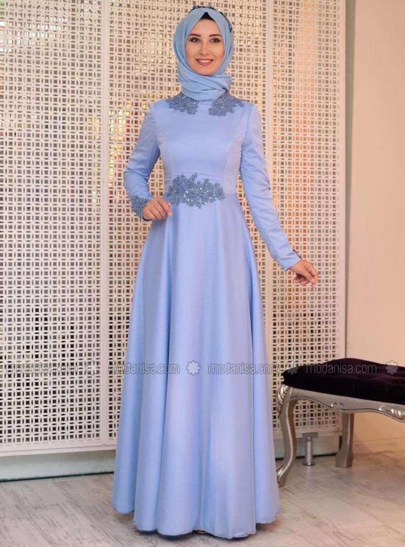 ea11ed4722d49 Blue - Fully Lined - Crew neck - Muslim Evening Dress - Efkeyem | 1 ...
