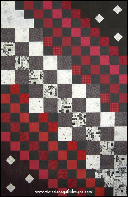 Musically Inclined - A Quick  Easy Quilt Pattern. http://www.victorianaquiltdesigns.com/VictorianaQuilters/PatternPage/MusicallyInclined/MusicallyInclined.htm #quilting