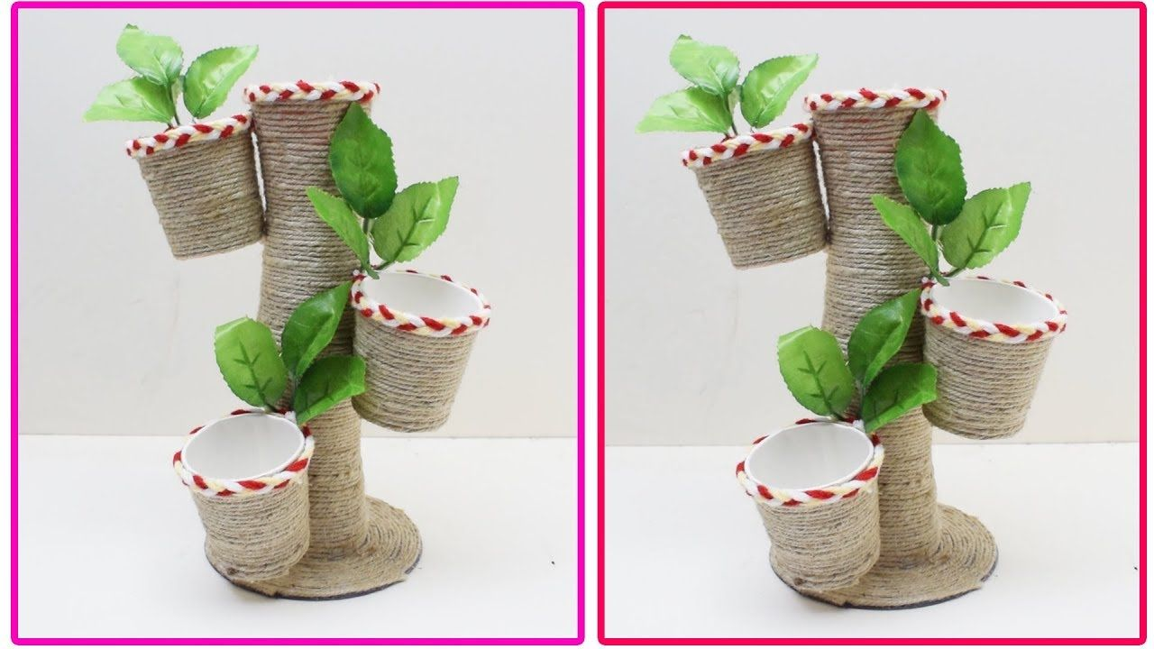 Jute Showpiece Best Reuse Of Waste Paper Cup And Jute Craft Idea