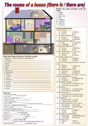 english worksheet the rooms of a house there is there are to be prepositions of place. Black Bedroom Furniture Sets. Home Design Ideas