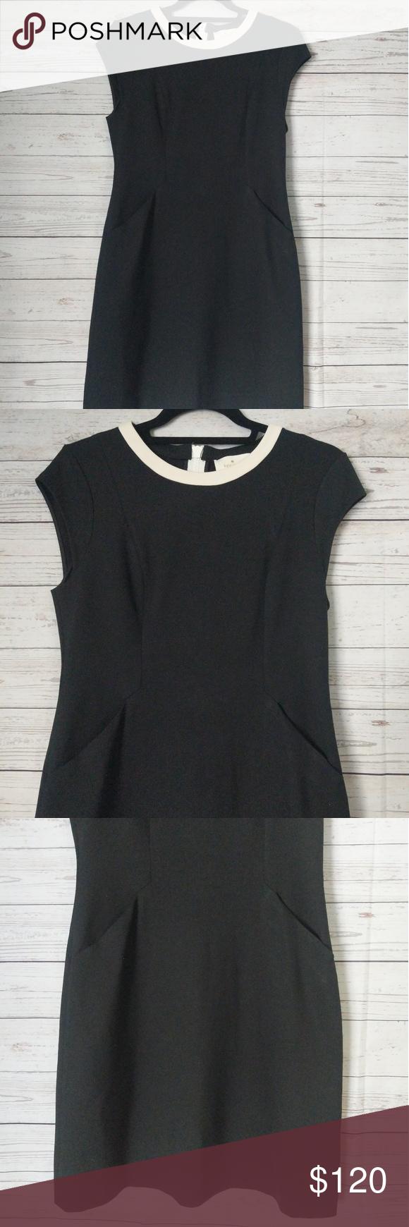 Kate Spade Black Dress White Trim Collar Size 6 Simple Black Dress With Two Front Pockets Back Zipper Black Dress White Collar Simple Black Dress Black Dress [ 1740 x 580 Pixel ]