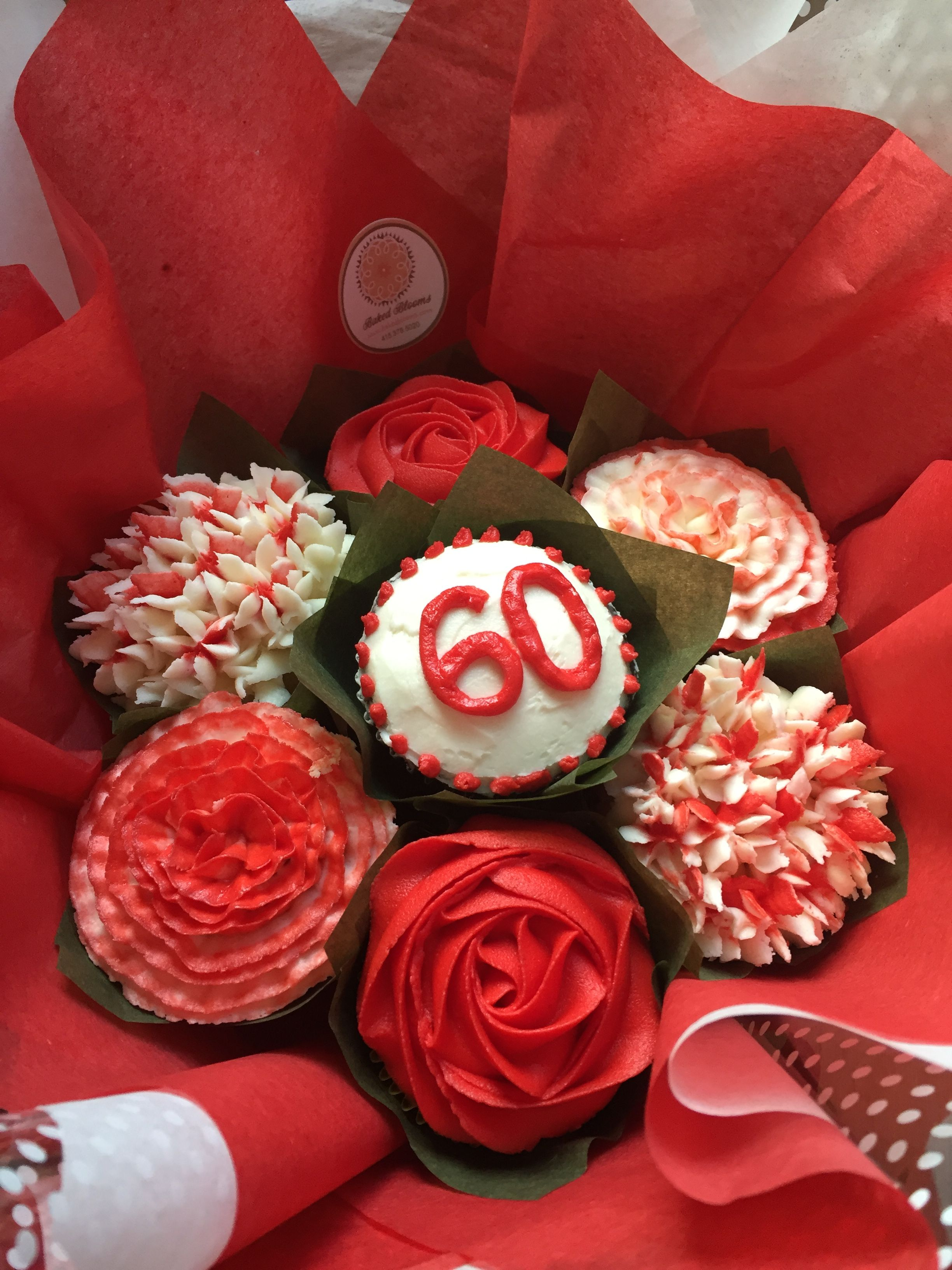 60th birthday cupcake bouquet www.bakedblooms.com   Baked Blooms ...