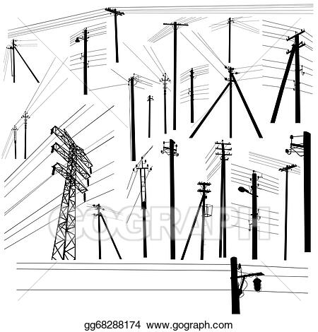 Vector Clipart Pylon High Voltage Power Lines Silhouette Set Vector Illustration Gg68288174 Go Vector Images Black Abstract Background Vector Illustration