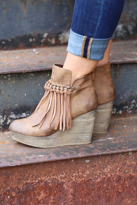 be238a542aff Sbicca Zepp Wedge is the hottest shoe this season! Wedge booties that  feature a chain and fringe detail for vintage appeal. Synthetic upper  (genuine suede ...