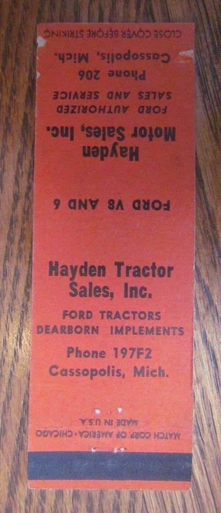 CASSOPOLIS, MICHIGAN: HAYDEN FORD TRACTORS - LOW PHONE NUMBER # 206 -D29