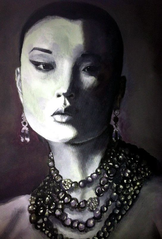 """Asian beauty"", done with Acrylics. I did this one Back in 2010 or 2009 :) #artista_vaniasoto"