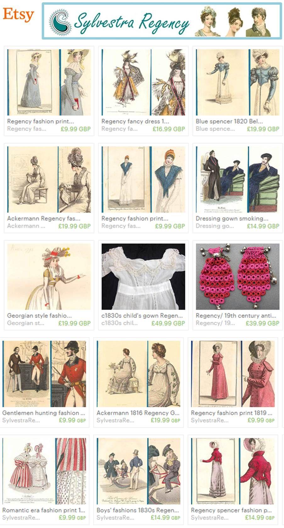 Etsy Sylvestra Regency shop - antique prints, items of ...