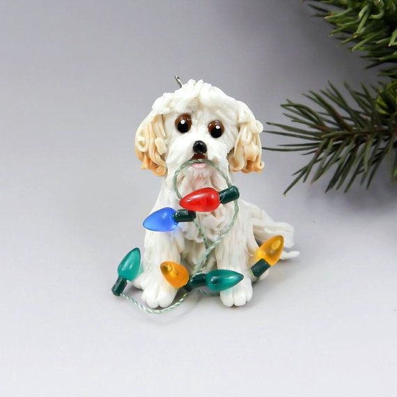 MaltiPoo White and Apricot Christmas Ornament by TheMagicSleigh - MaltiPoo White And Apricot Christmas Ornament By TheMagicSleigh