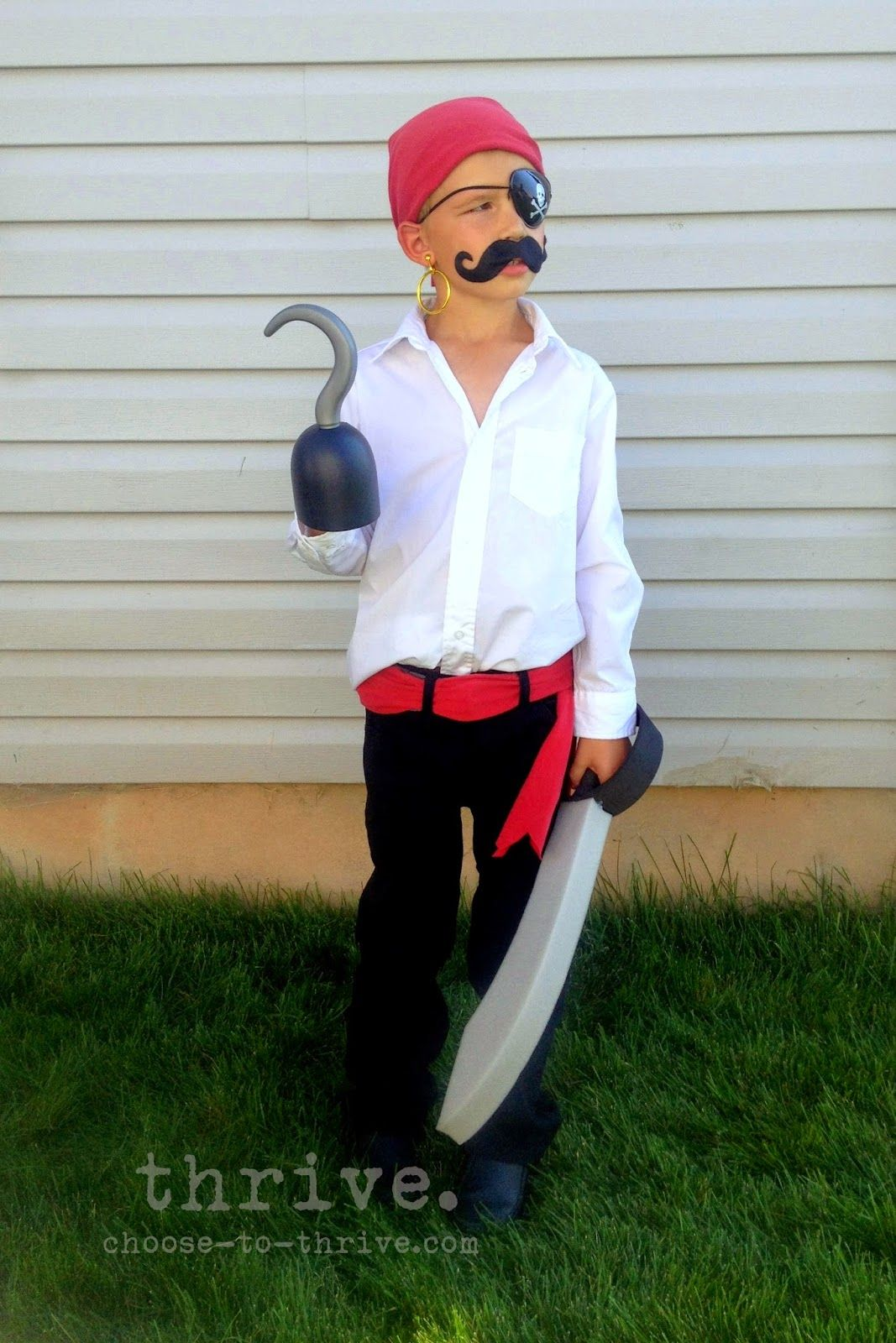 Thrive 100 simple halloween costumes that you probably have in diy kids pirate costume bandana white shirt black trousers with sash mustache solutioingenieria Gallery