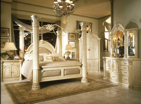 AICO Monte Carlo Poster Canopy Bed in Silver Snow : ashley canopy king bed - memphite.com