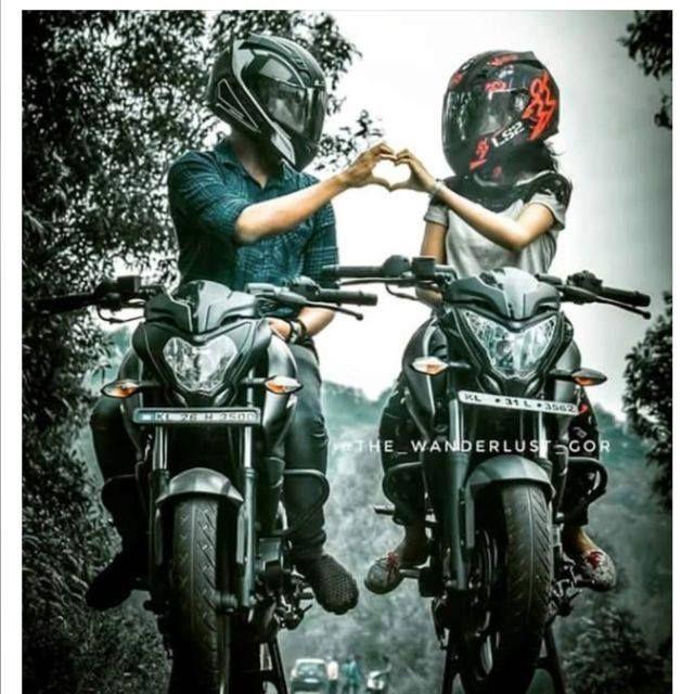 Planets Ns200 Nature Effect Clouds Love Bike Couple Motocross Love Biker Couple Get ktm duke couple wallpaper png
