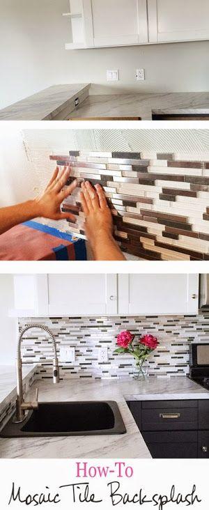 Excellent Diy Glass Mosaic Tile Backsplash White And Dark Mix Upper Download Free Architecture Designs Embacsunscenecom