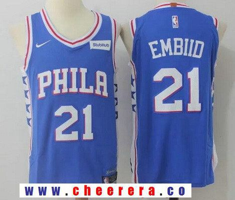Men's Philadelphia 76ers #21 Joel Embiid Royal Blue 2017-2018 Nike Swingman  Stubhub Stitched