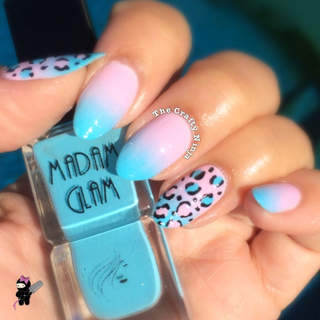 Pastel pink and blue ombre with leopard | Nailed it! | Pinterest ...