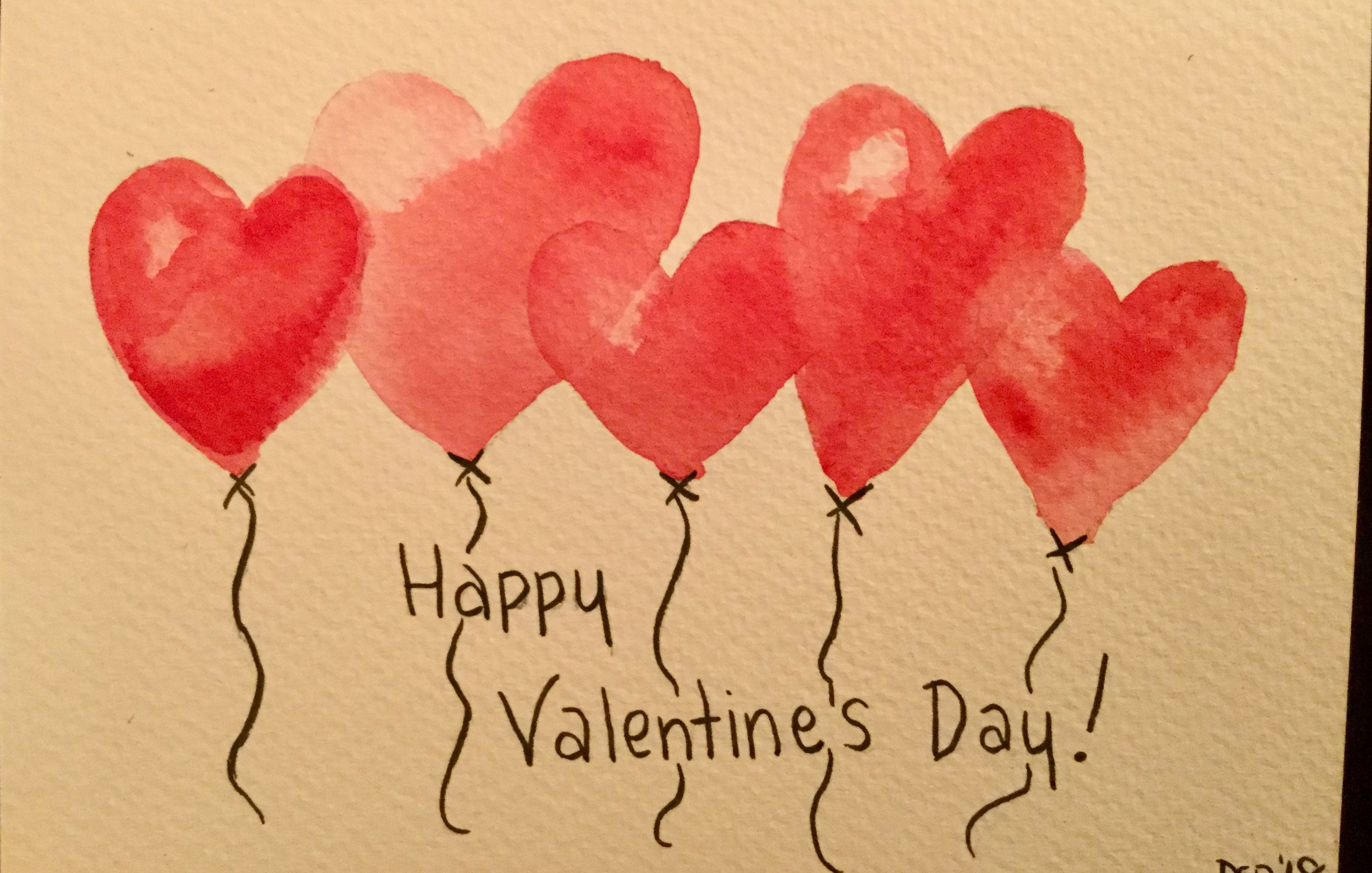 Heart Balloons Valentine S Day Watercolor Card Valentines