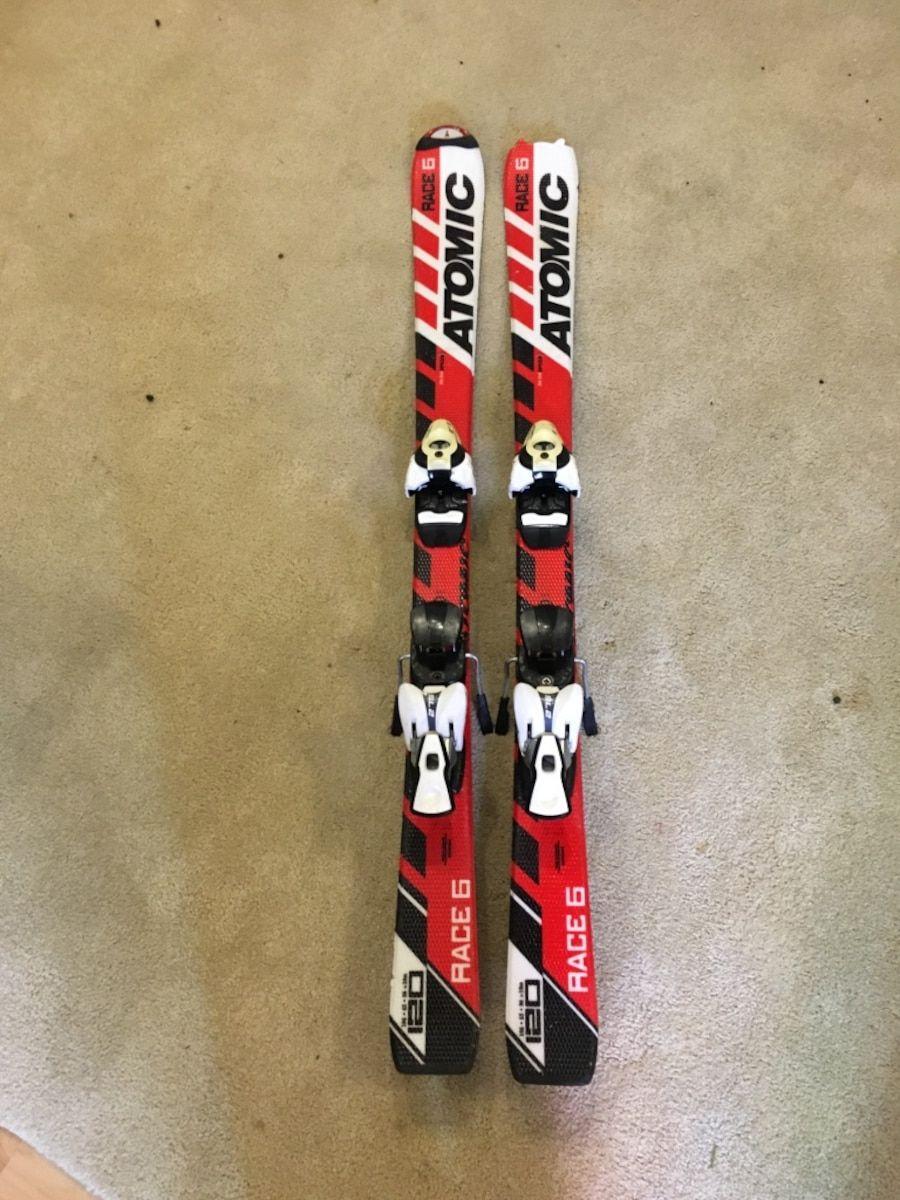 Used Atomic Race 6 Skis Bindings 120cm In Newmarket Letgo Ski Bindings Stuff To Buy Buy And Sell