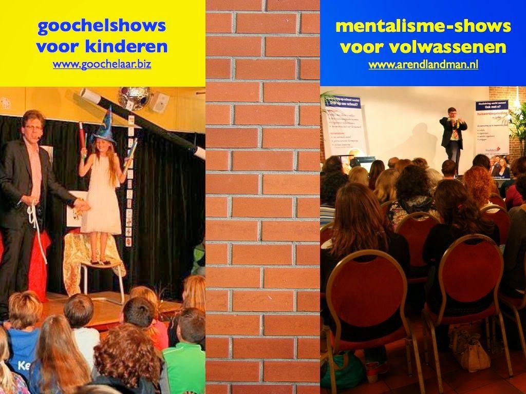 Goochelshows voor kinderen van schoolgoochelaar Aarnoud Agricola en mentalisme-shows van mentalist Arend Landman.