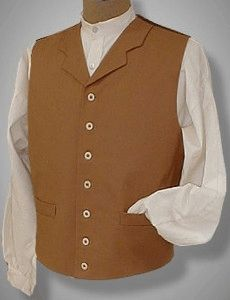 Victorian Mens Cowboy Vest Double Breast Regency Waistcoat Cotton Twill Western Historical uiCdp52