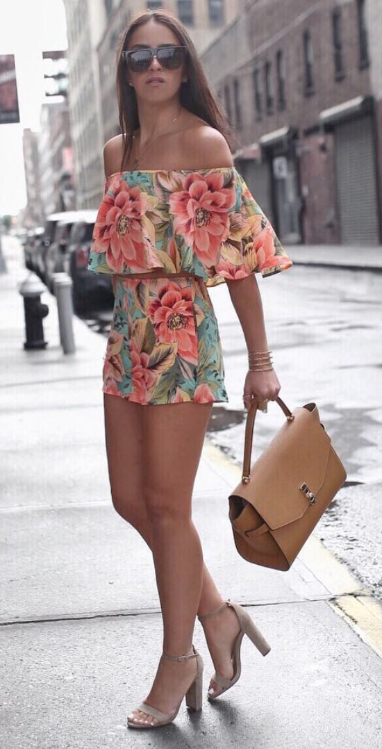 floral top and shorts