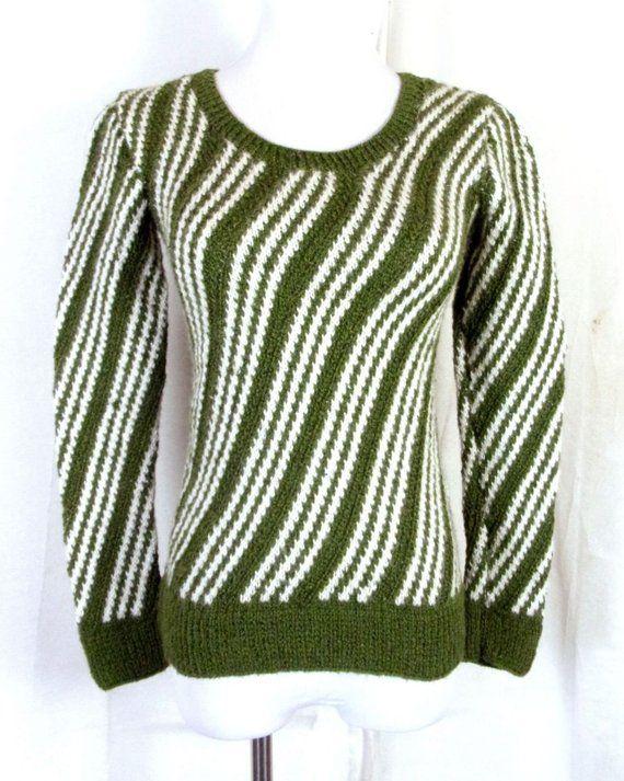 vtg 60s retro Homemade Green White Diagonal Striped Knit Sweater pullover  mod S 6b1d0567f
