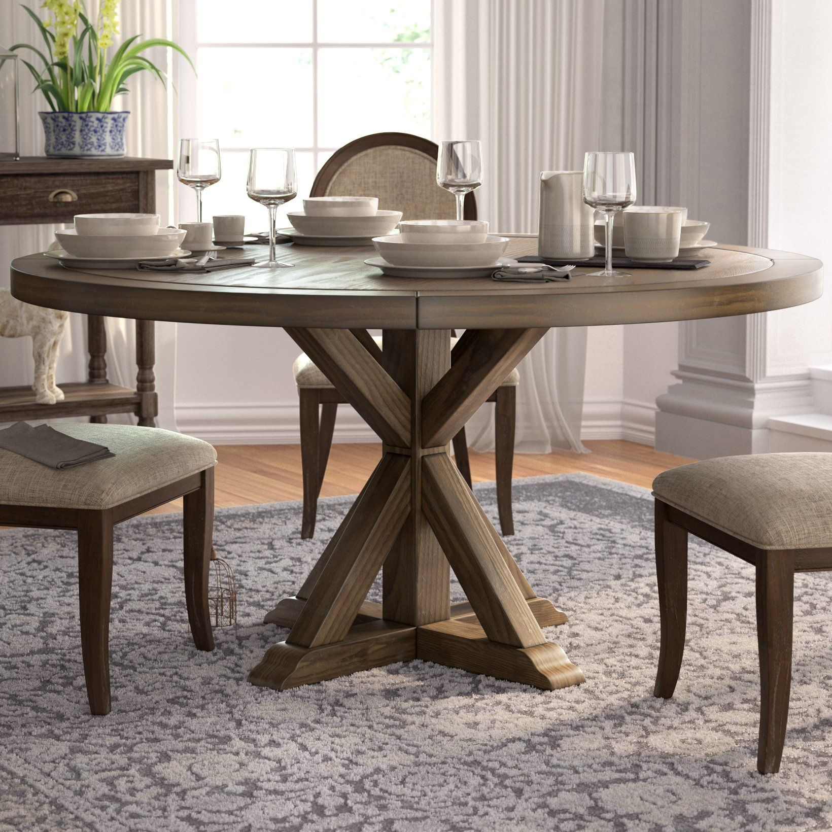 One Allium Way Armancourt Reclaimed Wood Round Dining Table Wayfair Round Dining Room Table Round Wood Dining Table Round Dining Room