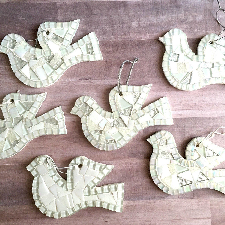 White dove christmas ornaments - Christmas Tree Ornament White Dove Mosaic