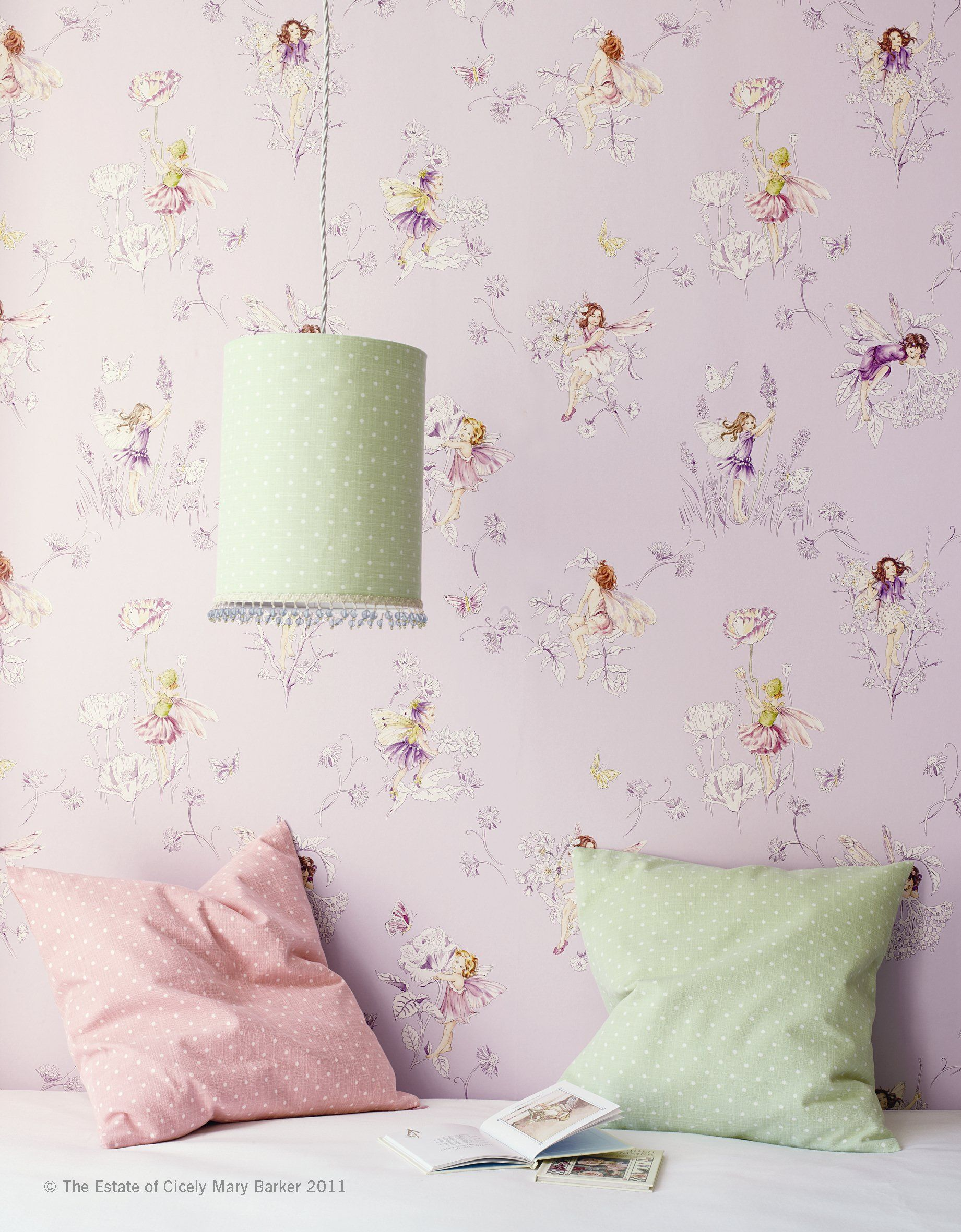 Beautiful Soft Lavender Master Bedroom With Chinoiserie Wallpaper And - Meadow flower fairies wallpaper by jane churchill