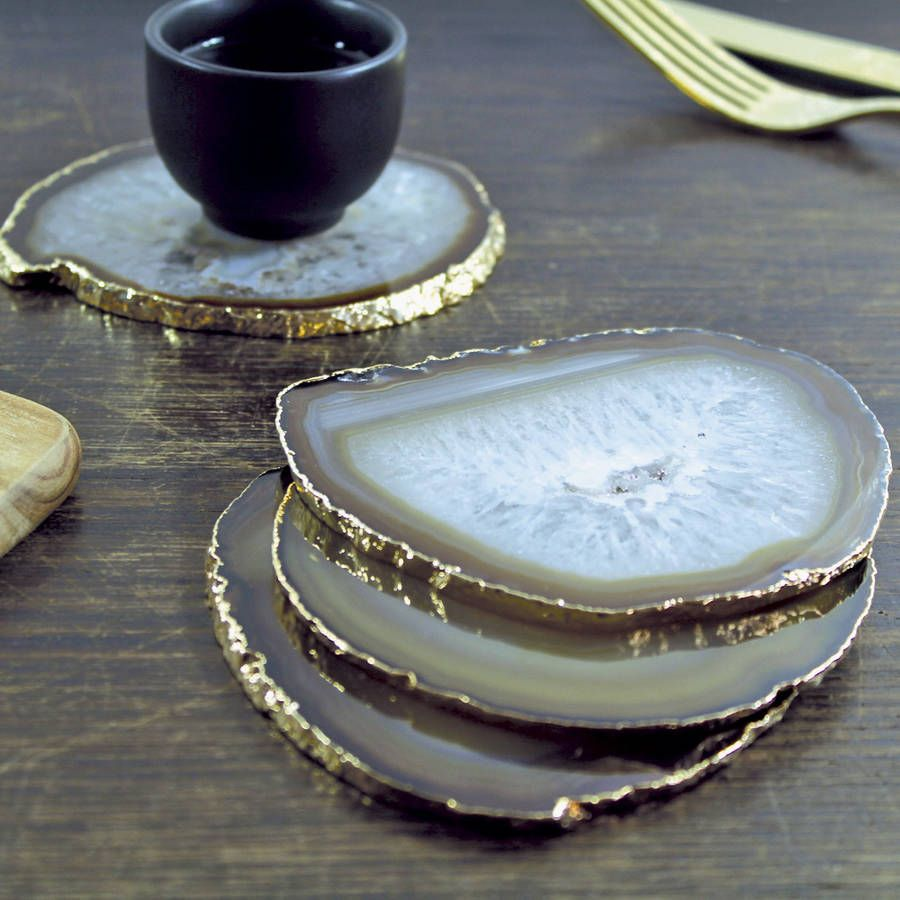Natural Gold Plated Agate Coasters Set Of Two -   25 unique home decor