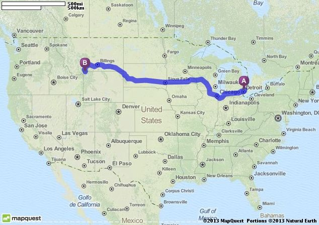 Driving Directions from Michigan to Yellowstone National Park in
