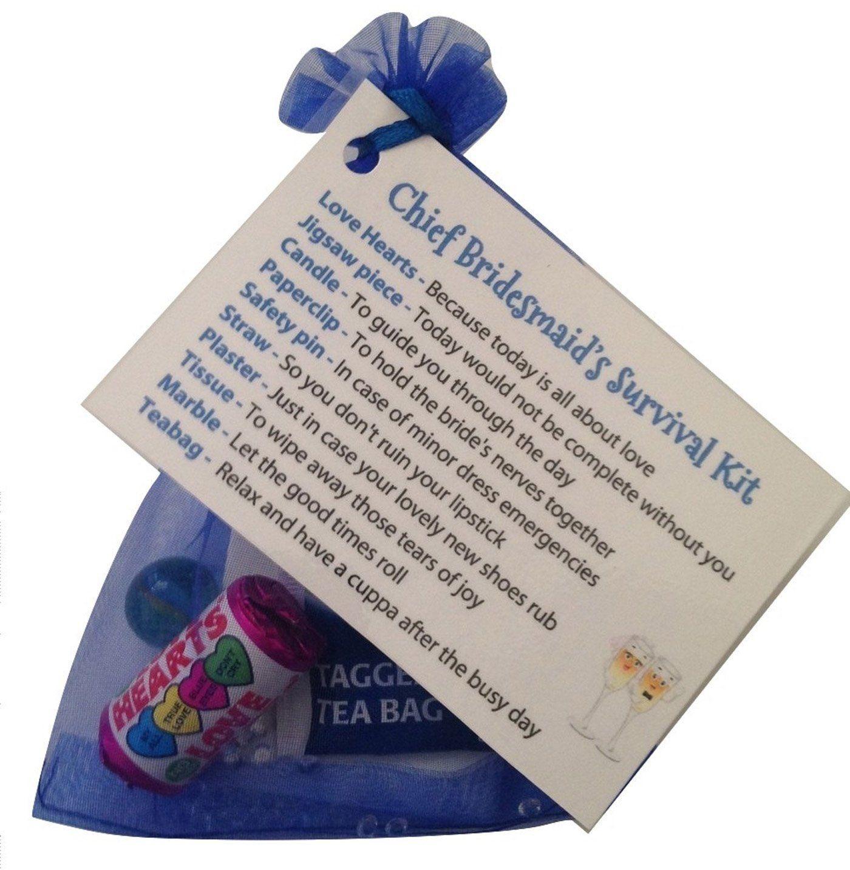 Chief Bridesmaid Survival Kit Thank You Gift Card Keepsake Novelty Wedding